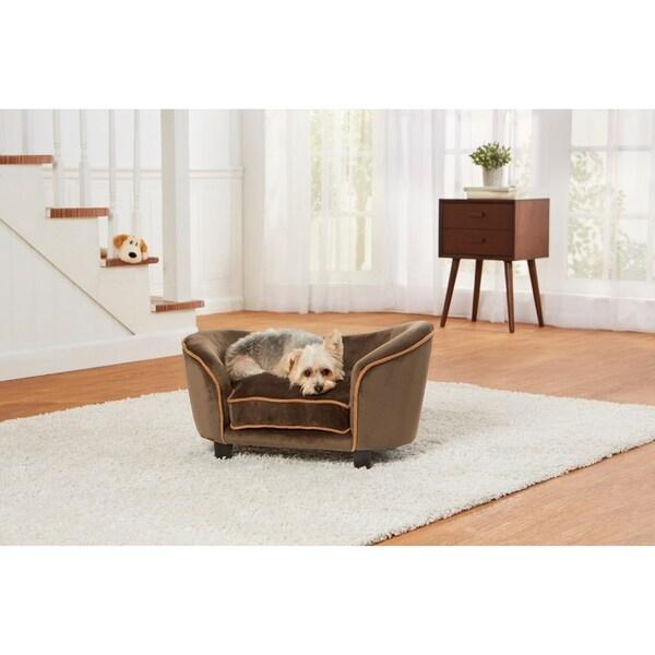 Brown Living Room With Tv And Dog Sleeping On Sofa