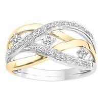 Boston Bay Diamonds 10K White & Yellow Two-tone Gold 1/4ct TDW Diamond Crossover Ring