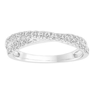 Boston Bay Diamonds 10K White Gold 1/3ct TDW Diamond Crossover Band Ring