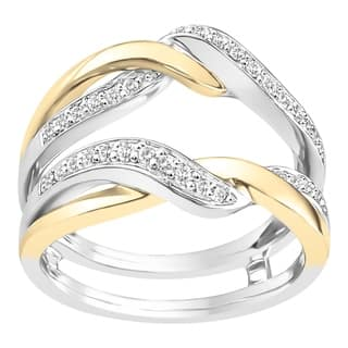 boston bay diamonds 14k white yellow two tone gold 14ct tdw diamond - Wedding Ring Guards