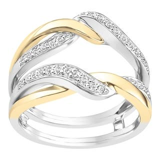 boston bay diamonds 14k white yellow two tone gold 14ct tdw diamond - Wedding Ring Guard