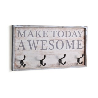 Melannco Make Today Awesome Mdf Sentiment With Metal Hooks.