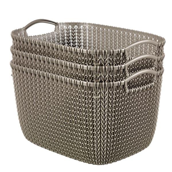 Curver by Keter KNIT Style Resin Rectangular 3-Piece Large Basket Set