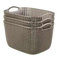 Curver by Keter KNIT Style Resin Rectangular 3-Piece Large Basket Set