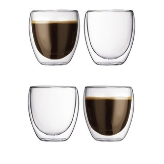 Modern Double Wall Insulated Glass Tea Cup (8 OZ) Set of 4