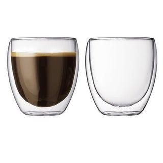 Modern Double Wall Insulated Glass Tea Cup Set of 2