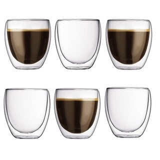 Modern Double Wall Insulated Glass Tea Cup (8 OZ) Set of 6