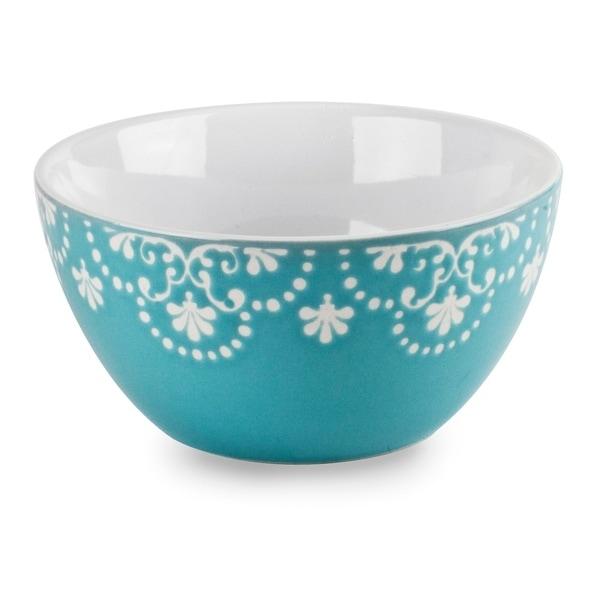Elegant 5.5In Vintage Style Teal Ceramic Bowl Set 2 Pack Soup Cereal Bowls