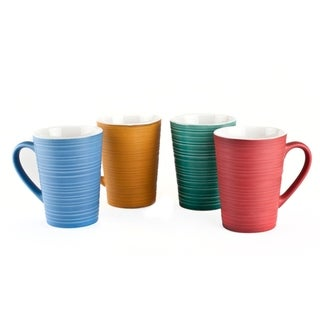 Modern 17 oz Ceramic Coffee Mug Set 4 Pack Multicolor Coffee Cups