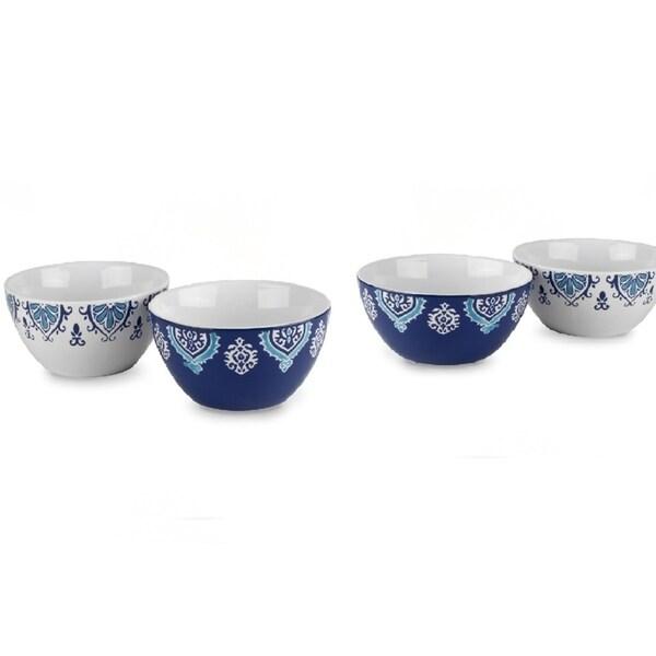 "4 Pk Blue White 5 1/2"" Ceramic Breakfast Serving Cereal Soup Bowl Set"