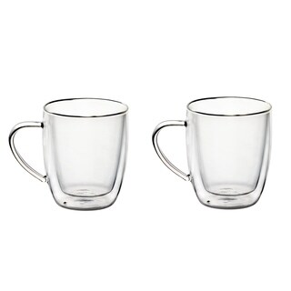 Two 14 OZ Borosilicate Glass Coffee Mugs Double Wall Glass Mug Set