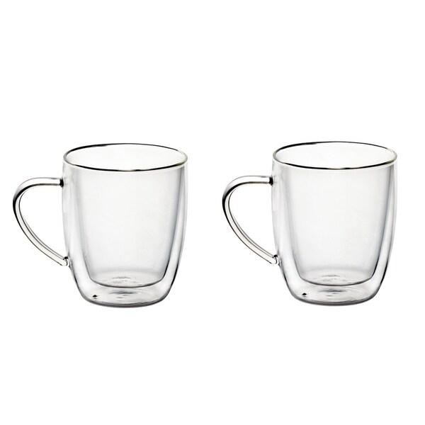 Two 14 Oz Borosilicate Gl Coffee Mugs Double Wall Mug Set