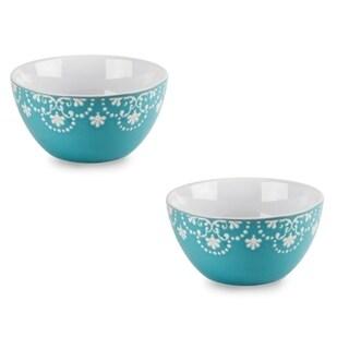 """4 Pk Teal 5 1/2"""" Ceramic Breakfast Serving Cereal Soup Bowl Set"""