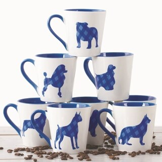 6 Pc Plaid Ceramic Coffee Mugs Set 16 OZ Coffee Cups Set (Dog Design)