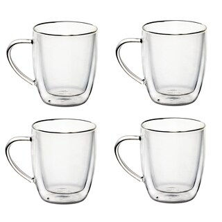 20 OZ Set of 4 Borosilicate Glass Coffee Mugs With Handles