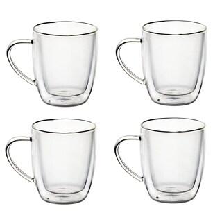 14 Oz Gl Coffee Mugs Double Walled Gles Set Of 4