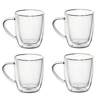 14 Oz Glass Coffee Mugs Double Walled Glasses - Set of 4