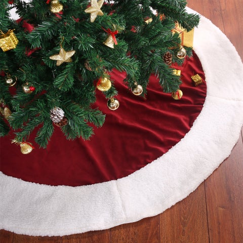 Traditional Velvety Soft Christmas Tree Skirt