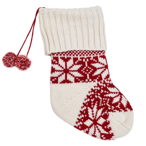 Red and White Knit Holiday Stocking