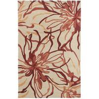 eCarpetGallery Hand-Tufted Elegance Ivory, Red  Polyester Rug (5'1 x 8'0)