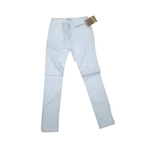 Womens Rhinestoned Ripped Skinny Jeans White