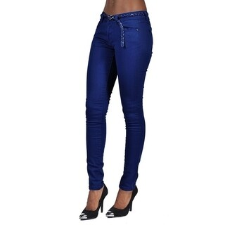 C'est Toi 4 Pocket Braided Belted Solid Color Skinny Jeans Navy