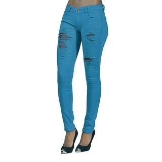 Womens Rhinestoned Ripped Skinny Jeans Ocean Blue