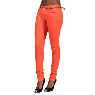 C'est Toi Braided Belt Embroidery on Back pocket Skinny Jeans Orange
