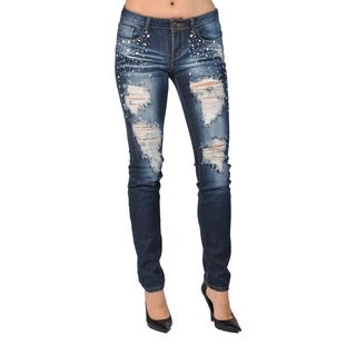 Machine Fashion Rhinestoned Denim Skinny Ripped Jeans
