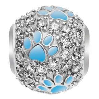 Queenberry Rhodium on 925 Sterling Silver CZ Puppy Dog Paw Animal Footprint European Bead Charm
