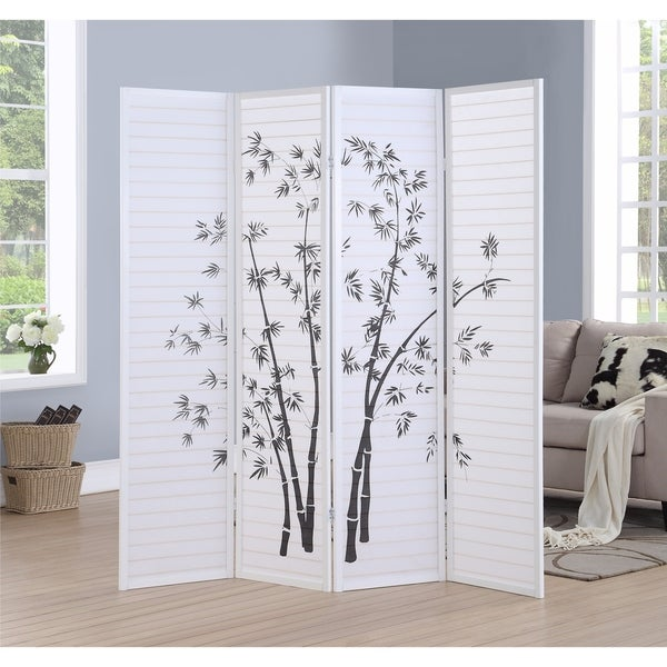 Bamboo Print 4-Panel Framed Room Screen/Divider