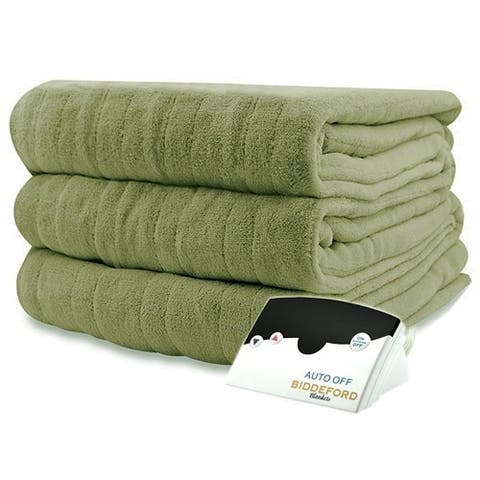 Pure Warmth by Biddeford MicroPlush Electric Heated Blanket Twin Sage Green