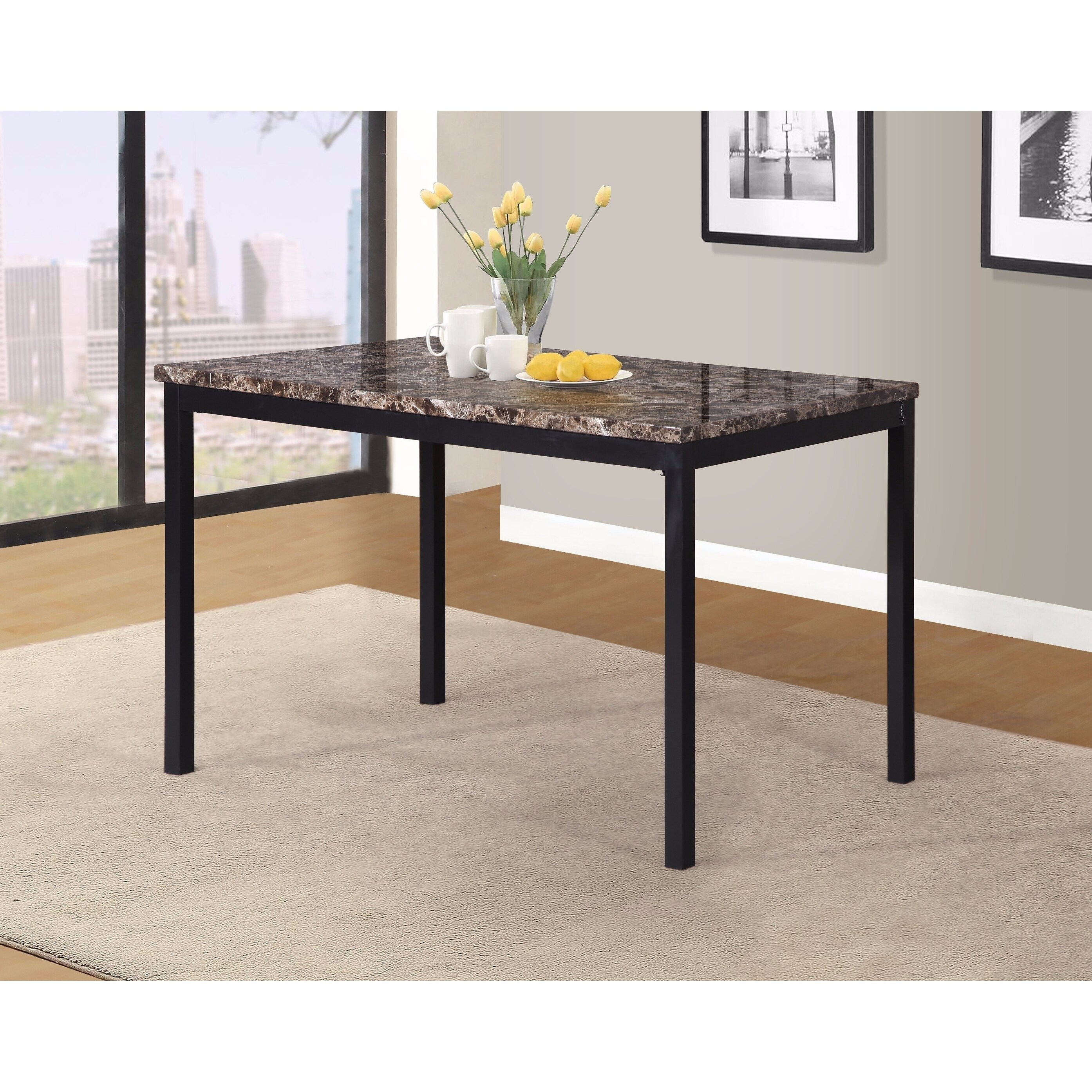 Noyes Metal Dining Table With Laminated Faux Marble Top Black Overstock 18656834