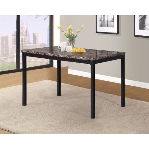Noyes Metal Dining Table with Laminated Faux Marble Top - Black
