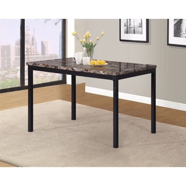 Noyes Metal Dining Table With Laminated Faux Marble Top   Black