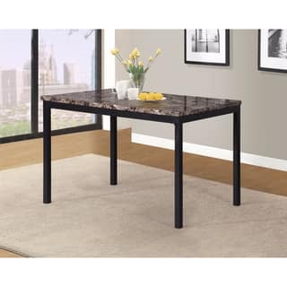 noyes black wood dining table with laminated faux marble top - Black And Wood Dining Table