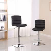 Bradford Faux Leather Adjustable Bar Stools with Chrome Base, Set of 2