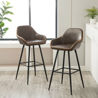 Link to Horgen Contemporary Metal Frame Gray Faux Leather barstools, Set of 2 Similar Items in Dining Room & Bar Furniture