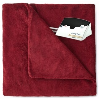 Pure Warmth by Biddeford MicroPlush Electric Heated Blanket Twin Claret