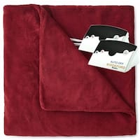 Pure Warmth by Biddeford MicroPlush Electric Heated Blanket Queen Claret