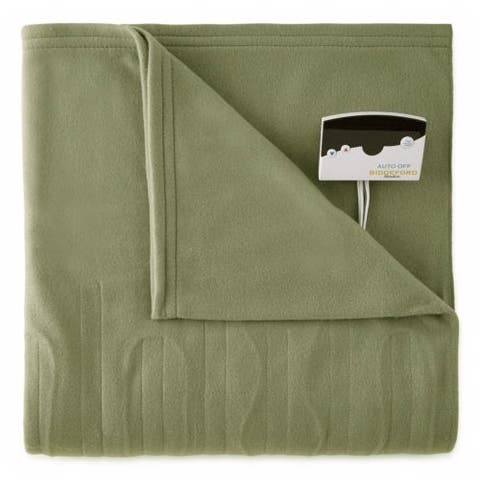 Pure Warmth by Biddeford Fleece Electric Heated Blanket Twin Sage Green
