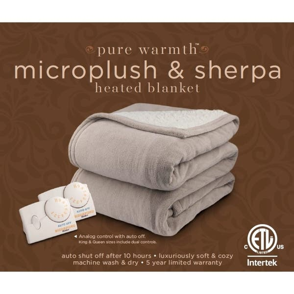 Shop Pure Warmth By Biddeford Microplush Sherpa Electric Heated Blanket Twin Sage Overstock 18656914