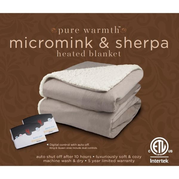Shop Pure Warmth By Biddeford Micro Mink And Sherpa Heated Blanket Queen Grey On Sale Overstock 18656965