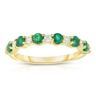 Noray Designs 14K Yellow Gold Emerald & White Diamond (0.15 Ct, G-H Color, SI2-I1 Clarity) Ring