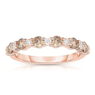 Noray Designs 14K Rose Gold Champagne & White Diamond (0.80 Ct, G-H & Brown Color, SI2-I1 Clarity) Ring