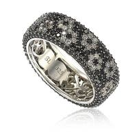 Suzy Levian Sterling Silver Cubic Zirconia White & Black Pave Flower Eternity Band Ring - Black White