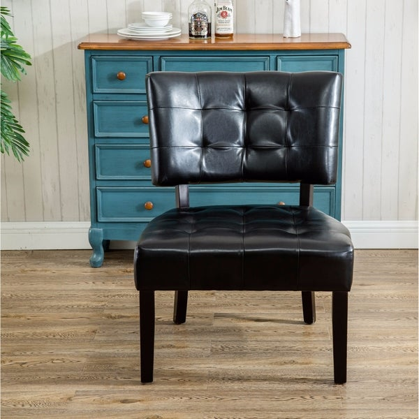 Shop Faux Leather Tufted Accent Chair With Oversized