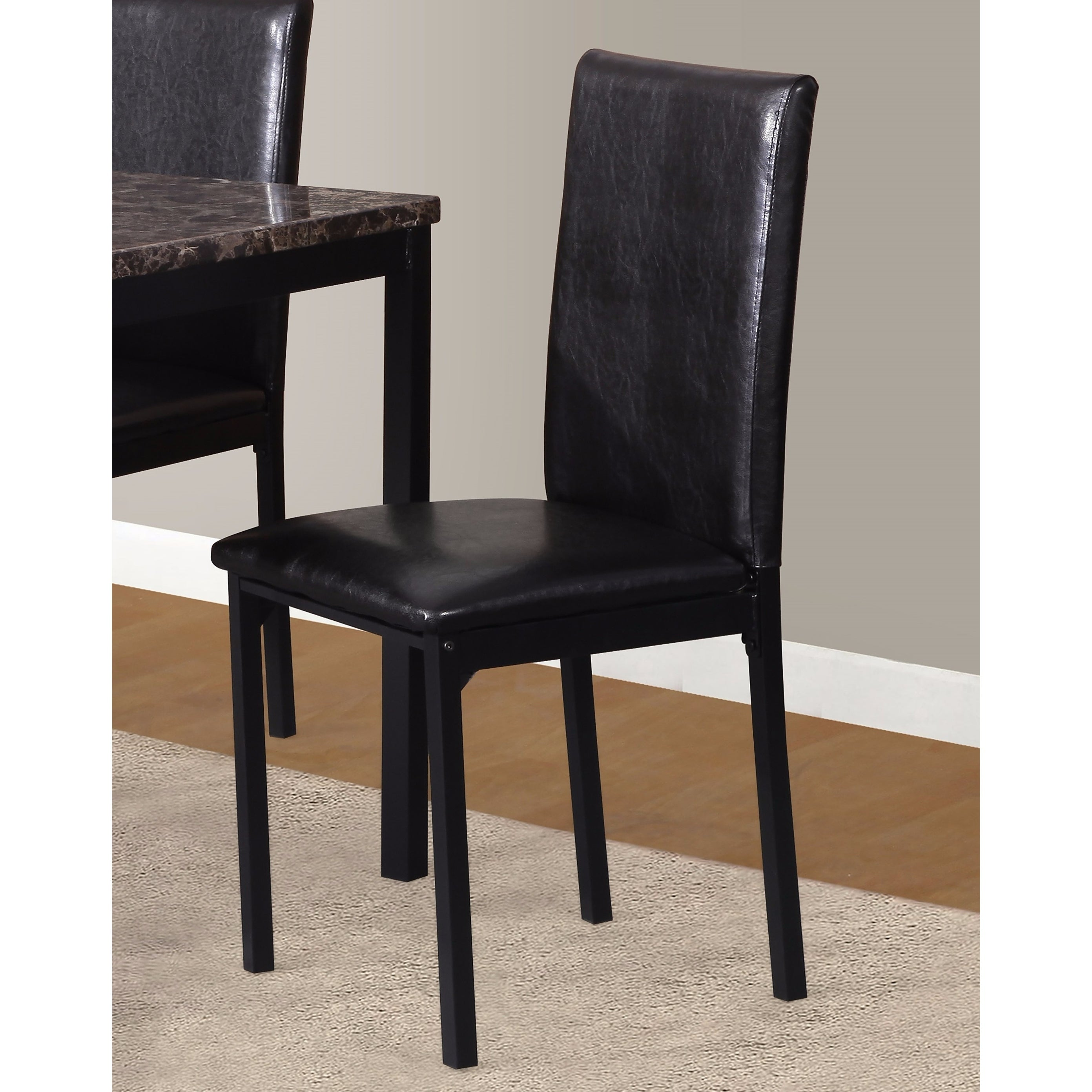 Brown Leather Maxwell Metal Dining Chair: Noyes Faux Leather Seat Metal Frame Black Dining Chairs