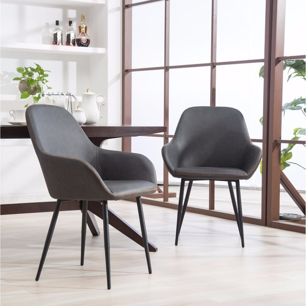 Shop Horgen Gray Faux Leather Dining Chairs with Metal Frame, Set of ...