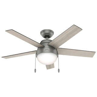 "Hunter Fan Anslee Matte Silver 46"" w / 5 Lt Gry Oak / Gry Walnut Rev Blds"